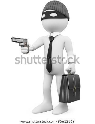 White-collar criminal with a gun. Rendered at high resolution on a white background with diffuse shadows. - stock photo