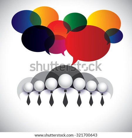 white collar employees communication, interaction - concept graphic. The graphic also shows people conference, social media network, executives & management, company board members, corporate people - stock photo
