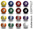 white Collection of pool balls, snooker ball on white background with shadow - stock photo