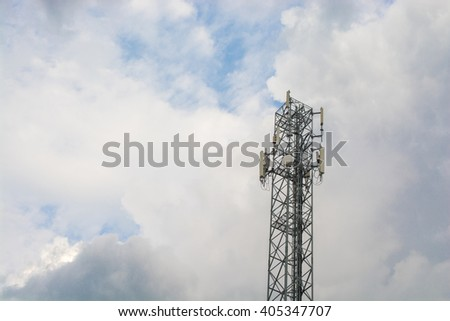 White color antenna repeater tower on sky - stock photo