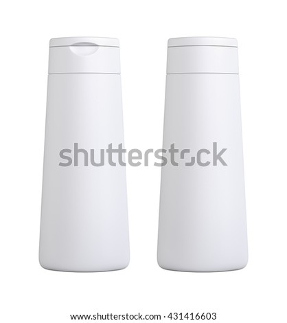 White color blank Packaging plastic bottle, on white background isolated. Packshot design for front view and back view of 3d Rendering. - stock photo