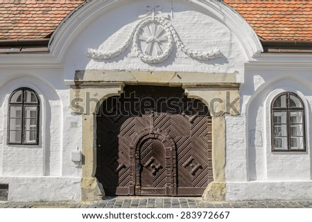 White Color House in the Old city of Szekesfehervar, Hungary  - stock photo