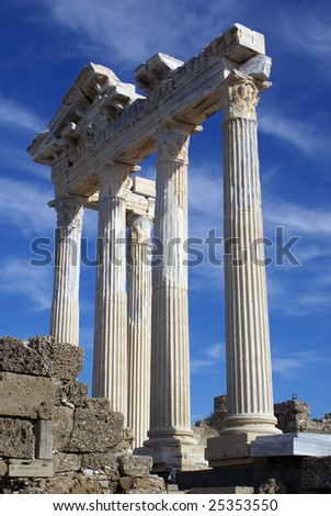 White columns of Athena temple in Side, Turkey - stock photo