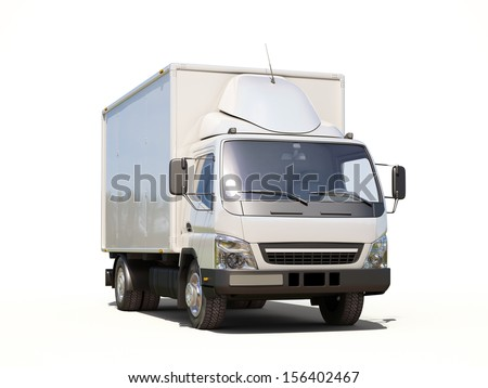 White commercial delivery truck on a ligth background with shadow - stock photo