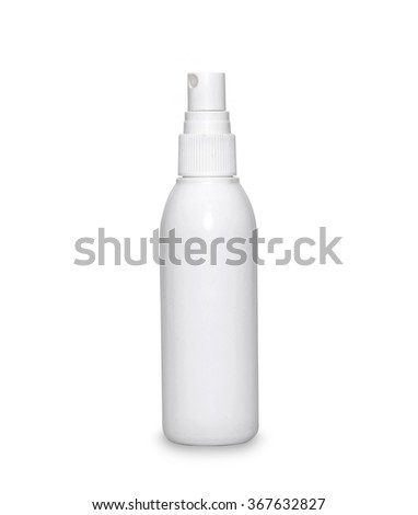 White container of spray bottle isolated over white background. With clipping path - stock photo