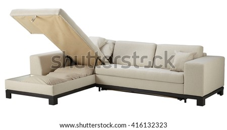 White corner couch bed with storage isolated on white include clipping path - stock photo