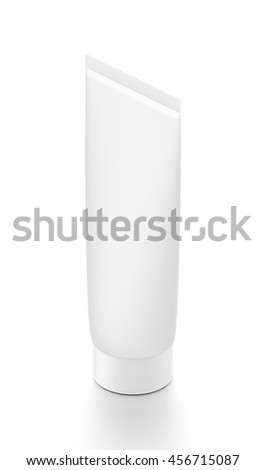White cosmetic product cream toothpaste tube from isometric angle. 3D illustration isolated on white background. - stock photo