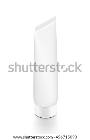 White cosmetic product cream toothpaste tube from top side far angle. 3D illustration isolated on white background. - stock photo