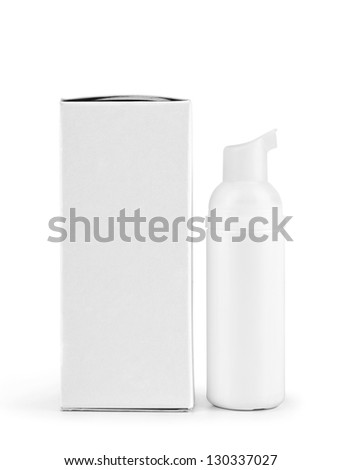 White cosmetics containers, bottle with package on white background - stock photo