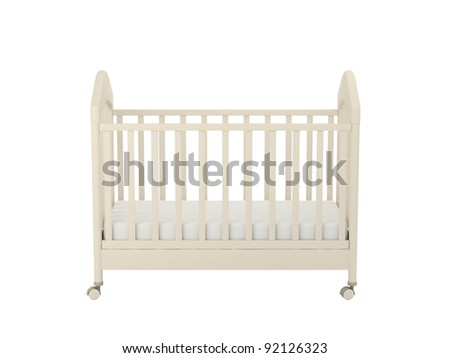 White cot isolated on a white background - stock photo