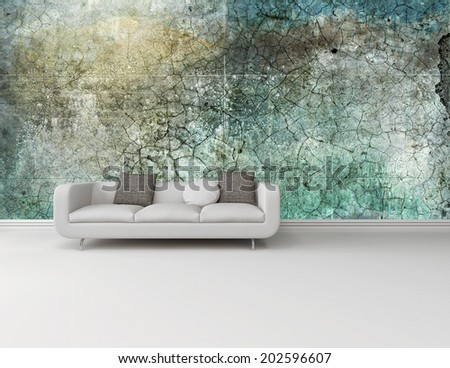 White couch against an abstract green wall on a plain white floor in an interior decor and architectural background with plenty of copyspace - stock photo