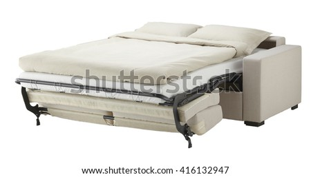 White couch bed isolated on white include clipping path - stock photo