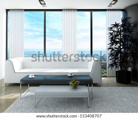 White couch with nice side tables against huge window with panoramic view - stock photo