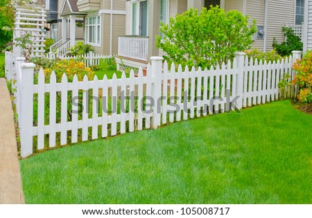 White country style wooden fence - stock photo