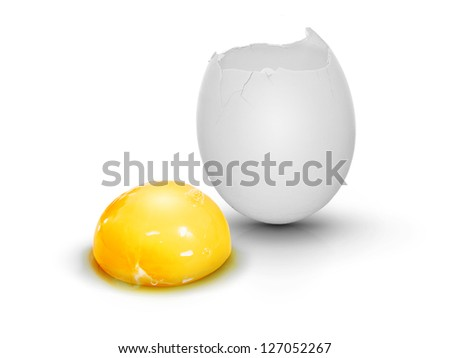 White cracked egg with egg yolk, very clean on white background with shadow - stock photo
