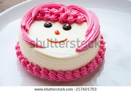 White Cream Cake - stock photo