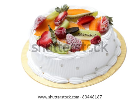 White cream cake with mixed fruity isolated on white background. - stock photo