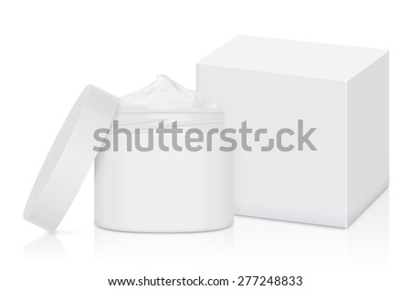 White cream jar open lid and compatible white box on isolated - stock photo