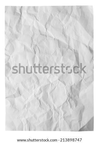White creased paper background texture on a white background. Clipping Path - stock photo