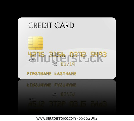 White credit card isolated on black with clipping path - stock photo