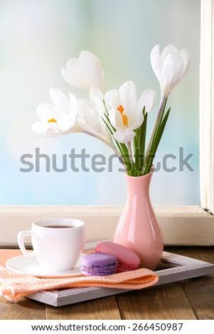 White crocus in vase on windowsill background - stock photo