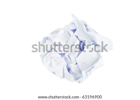 White crumpled paper ball isolated on white background - stock photo