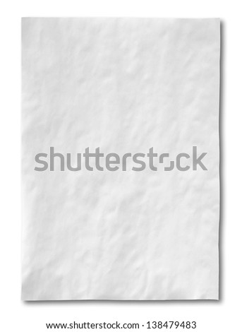 white crumpled paper isolated on white background - stock photo