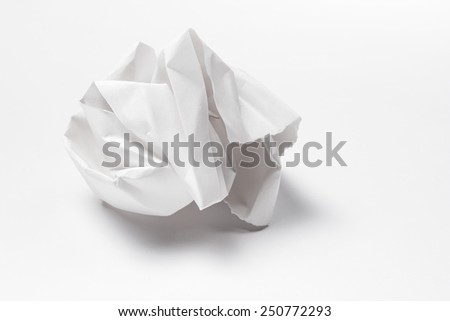 White crumpled paper on a white background - stock photo
