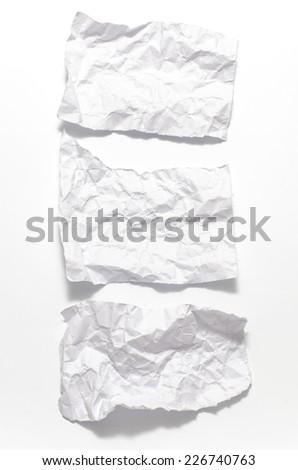 white crumpled paper over white background - stock photo