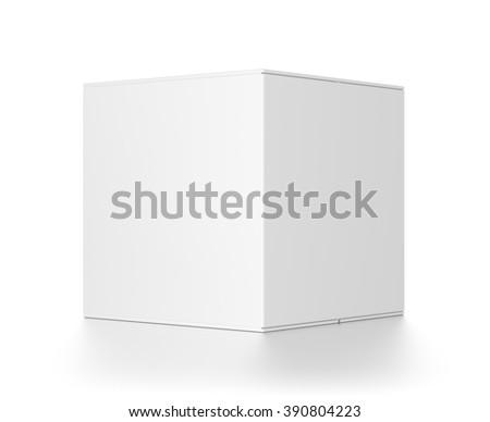 White cube blank box isolated on white background. - stock photo
