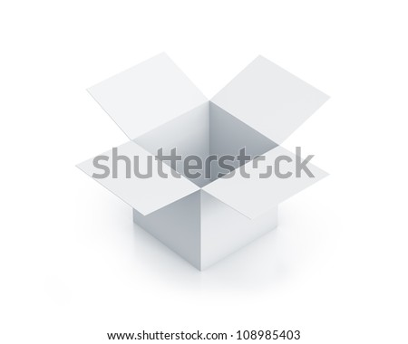 White cube box. High resolution 3D illustration with clipping paths. - stock photo