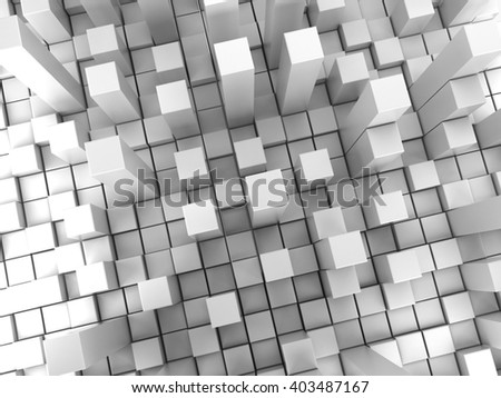 White cubes extruded background, abstract style 3D illustration. - stock photo