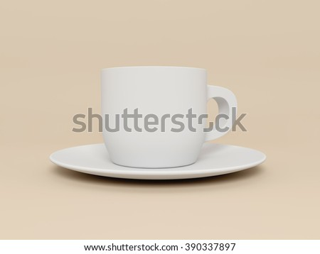 White cup and saucer. 3d render image. - stock photo