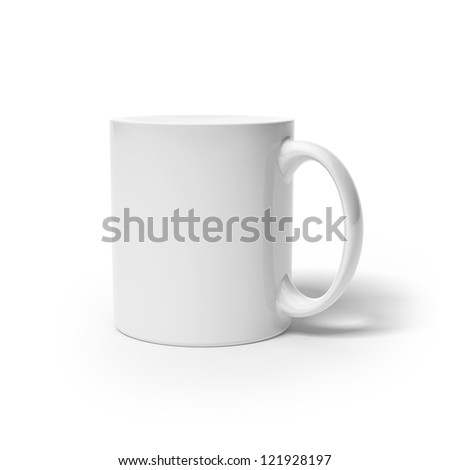 White cup  isolated on a white background - stock photo