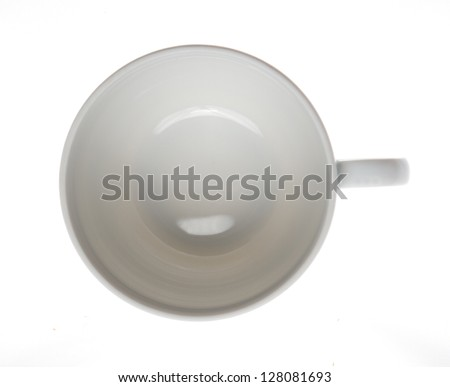 White cup isolated on white background pictured from top - stock photo