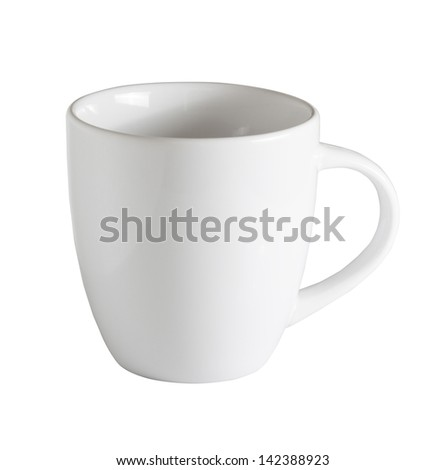 White cup isolated on white with clipping path - stock photo