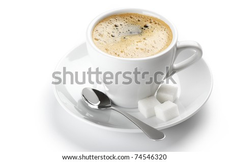 White cup of coffee isolated on white background. - stock photo