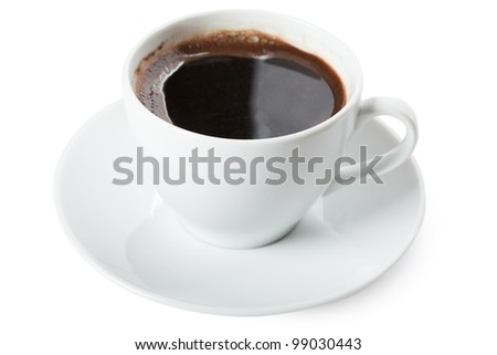 White cup of coffee isolated over white background - stock photo