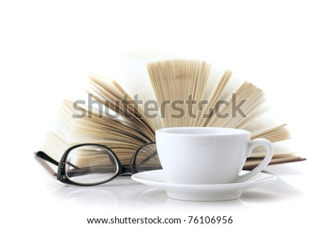 White cup of coffee, open book and glasses isolated on white background. - stock photo
