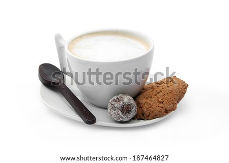 white cup of coffee with chocolate candy, cookies and chocolate coffee spoon on a white background isolated  - stock photo