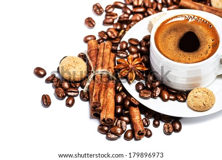 White Cup of espresso over white background with copyspace. - stock photo