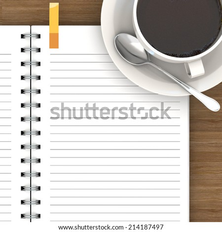 White cup of hot coffee and white sketch book on wood table - stock photo