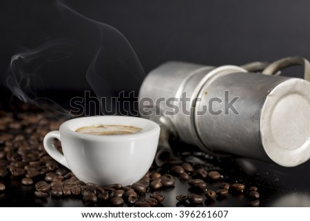 white cup with old Neapolitan coffee - stock photo