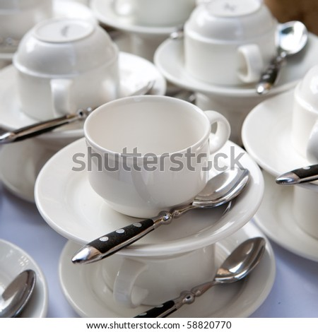 white cups - stock photo
