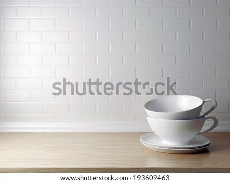 White cups on the wooden shelf in front of white wall. Kitchen design. - stock photo