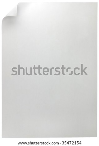 White Curled Edge Page Curl, isolated on white - stock photo