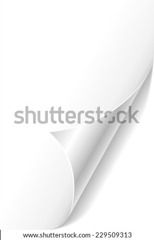 White curled paper page corner template. - stock photo