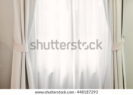 White Curtain in Bedroom Minimal Clean Decorative Comfortable Home - stock photo