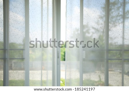 white curtain in the room - stock photo