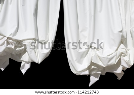 White Curtains Isolated on Black as Design Element - stock photo